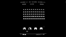 Space Invaders in pure black and white raster sprites only